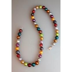 Perlenkette/Süßwasserzuchtperlen Kette bunt.1
