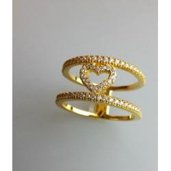 Silberring,vergoldet mit Zirkonia